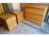 Chest of drawers and x2 bedside tables