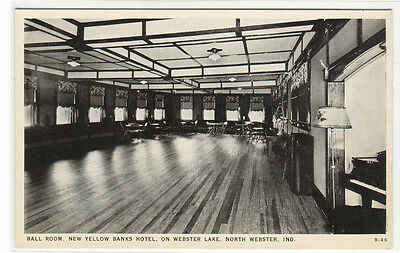 Ball Room Yellow Banks Hotel Webster Lake Indiana Postcard