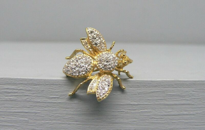 Amazing 14K Gold Diamond Encrusted Fly Pin Pendant