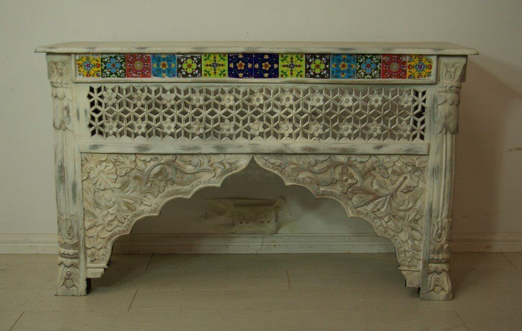 beautiful antique hand carved solid wood and tiled console table