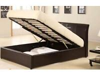 5FT FAUX LEATHER BROWN STORAGE DOUBLE BED FRAME USED TWICE