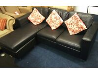 Bonded leather * corner sofa 190 x 140cm plus recliner chair *BLACK *