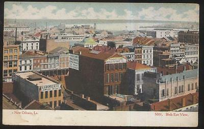POSTCARD NEW ORLEANS LA/LOUISIANA CANAL STREET AREA BIRD'S EYE AERIAL VIEW