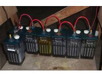 Planté cells. Heavy duty industrial lead-acid batteries - 7 good + 4 repairs