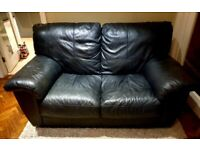 Genuine black leather 2 seater sofa DELIVERY INCLUDED
