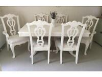 French Shabby Chic Dining Table And 6 Chairs