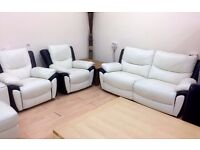 AMX Designs - Black & White Leather , ELECTRIC RECLINING 3 Piece Sofa Suite + FREE LOCAL DELIVERY