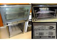 Unox commercial electric oven on stand, 4 racks. water input, 3 phase or single phase