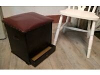 Antique Shoe Shine Seat Box with Drawer ~ Oak with Chesterfield style Oxblood Leather Top