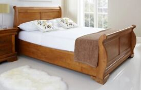 Oak Wooden Sleigh Style Bed - Solid Wood - 6ft Super King available Immediately