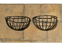 2 Black Cast Iron Half Moon Shaped Wall Mounted Plant / Flower Baskets Wall Hanging Planters
