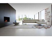 Roche Bobois leather cream/grey L shape corner sofa