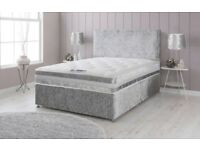 New Crushed Velvet Divan Beds + Sprung Orthopaedic Mattress + Stylish Headboard