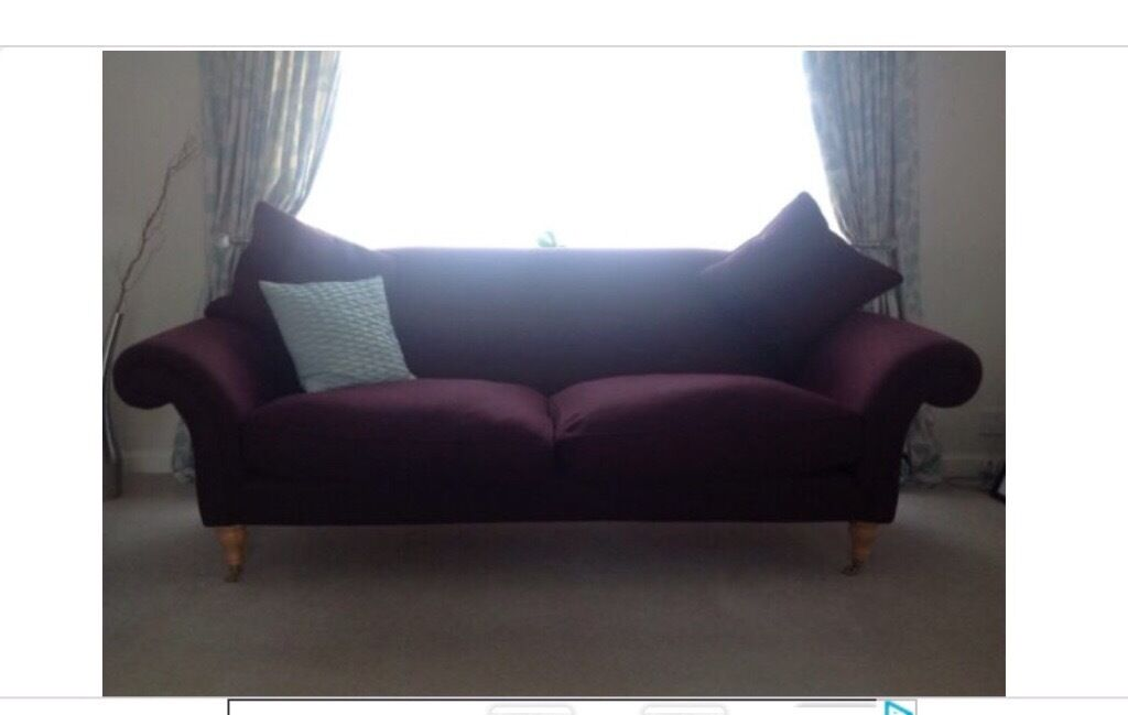 Large Three Seater Sofa Aubergine Work Browning