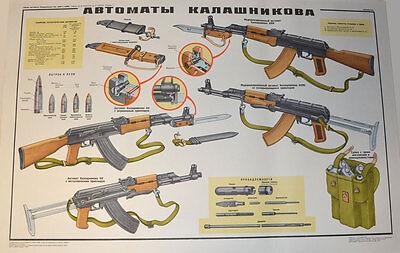 Lern Plakat Poster AK-47, AKM Kalashnikow 1980 UdSSR