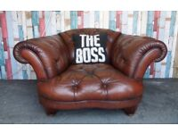 Stunning Tetrad Oskar Chesterfield Brown Leather Club Chair - UK Delivery