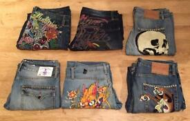 6 pairs of brand new vintage Ed Hardy and Christian Audigier men's jeans. Authentic