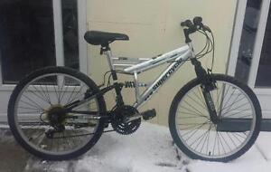 "Mountain Bike for Sale FULL SUSPENSION , 21 spd, 17,5-""FRAME, 24X195""-TIRES, SUPER CYCLE SILVER"