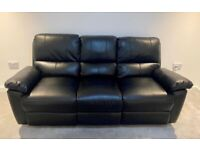 3 Seater Faux Leather Recliner Sofa - Black