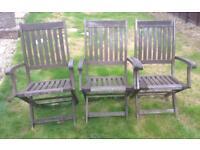 3 Wooden Garden Chairs