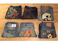6 pairs of brand new vintage Ed Hardy and Christian Audigier men's jeans. Authentic. Waist 32/33/34