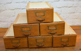 1960s ply one draw cabinet card index holder industrial antique vintage haberdashery storage