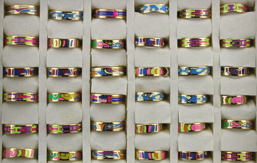 30pcs Wholesale Lots Fashion Mixed Colorful Enamel Stainless Steel Lady