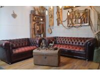 Chesterfield Vintage Leather Buttoned 2 Seater & 3 Seater Sofa Ox Blood