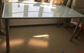 Glass And Brushed metal Desk