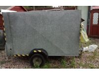 Box trailer 7ft long x 4 ft wide x 4.5 ft high. Recently refurbished with new electrics.