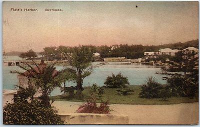"BERMUDA Postcard ""Flatt's Harbor"" Panorama HAND-COLORED Albertype w/ Cancel"
