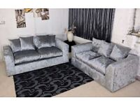 Silver Velvet 3 and 2 Sofa Set