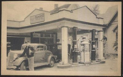 Postcard Ohio/OH  1934 Era SUNOCO Gas Station w/Tall Pumps