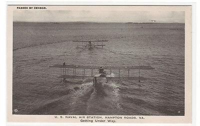 Under Way Flying Boat Plane US Naval Air Station Hampton Roads VA postcard