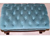 Light Blue Velour Button Foot Stool with Queen Anne style legs