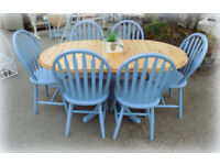 Painted Pine Drop Leaf Dining Table and 6 Chairs