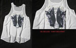 Mujeres-Camiseta-Sin-Mangas-camisetas-con-gatito-gatos