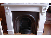 Victorian Edwardian Type Cast Iron Arched Fire Fireplace Fire place with Surround Mantle