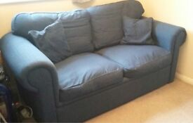Mid blue metal action sofa bed. Opens into double bed., good condition. We need the space!