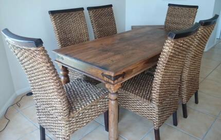 Dining Table   Balinese Wicker + 8 Chairs Part 81