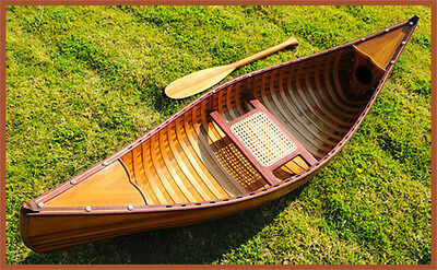 Display Cedar Wood Strip Canoe 6' Wooden Model Boat With Ribs New