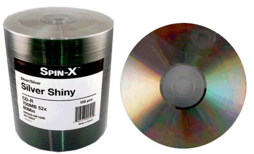 100-Pack Spin-X ProDisc Shiny Silver/Silver Thermal 52X CD CD-R Blank Media Disk
