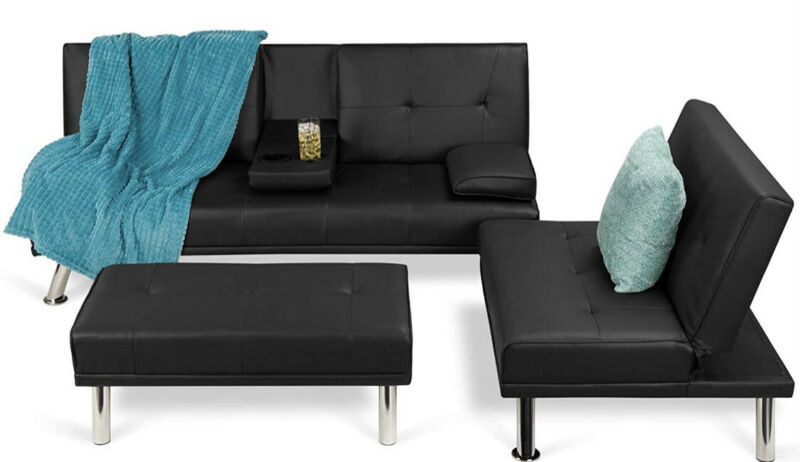 Black 3 Three piece Convertible PRESALE  Bed Couch Living Room Set Leather Futon