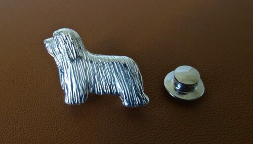 Sterling Silver Bearded Collie Standing Study Lapel Pin