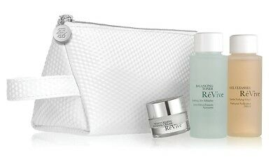 ReVive 4pc set:Renewal Cream, Purifying Gel Wash, Soothing Skin Toner, Pouch NEW