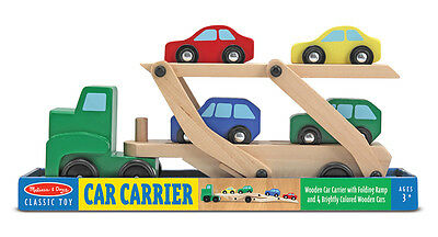 Melissa And Doug Car Carrier (Melissa and Doug Car Carrier Truck & Cars Wooden Toy Set #4096 New)
