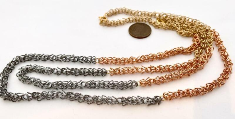 Vintage Mixed Metals Looped Chain Necklaces 2