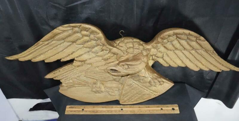 Vintage Mid Century Folk Art Carved Wooden American Eagle !!