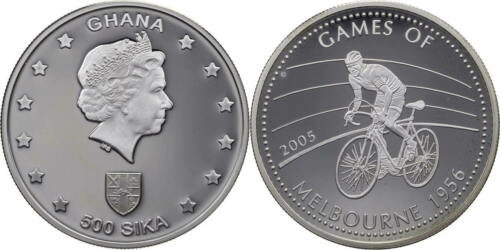 2005 Ghana Large Silver Proof 500 Sika- Olympic Melbourne 1956 Bicycle