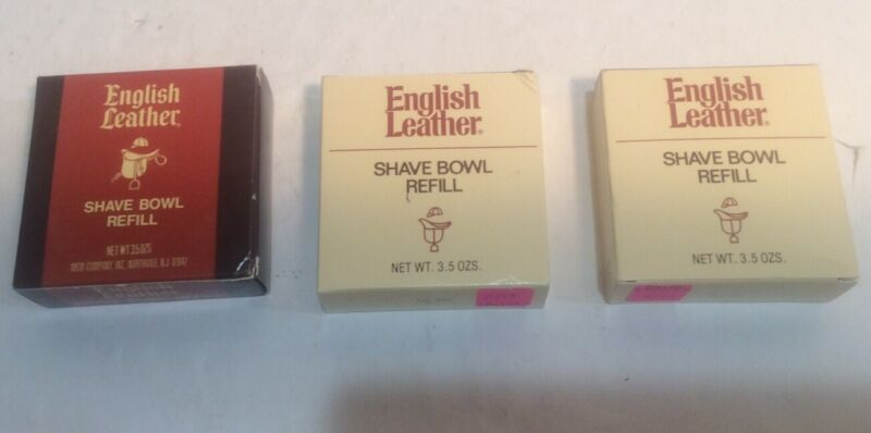 Lot Of 3 Vintage English Leather Shave Bowl Soap Refill Sealed with Box MEM Co.